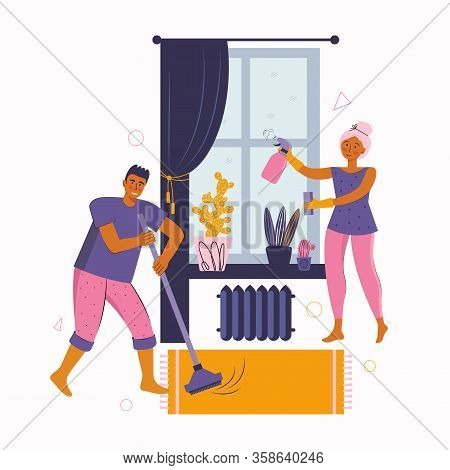 Man And A Woman Spend Time Together At Home. Young Couple Is Cleaning The Room, Disinfects, Washes T