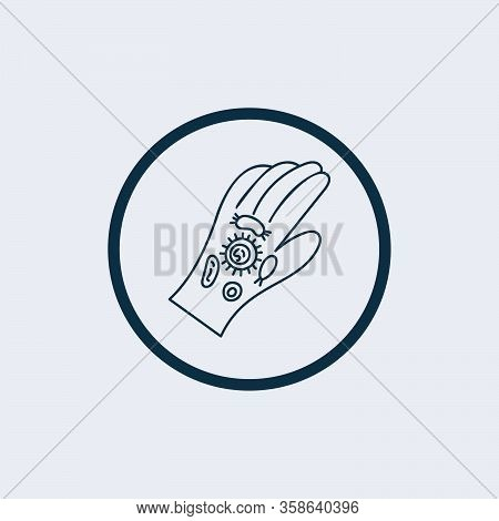 Hand Infected With Pathogen Icon, Line Vector Icon Bacteria Virus