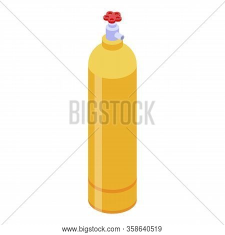 Gas Barrel Cylinder Icon. Isometric Of Gas Barrel Cylinder Vector Icon For Web Design Isolated On Wh