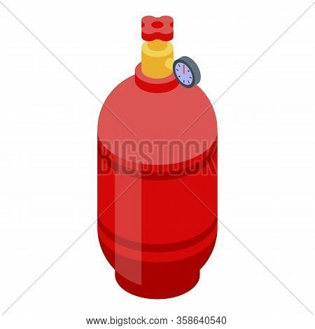 Gas Balloon Cylinder Icon. Isometric Of Gas Balloon Cylinder Vector Icon For Web Design Isolated On