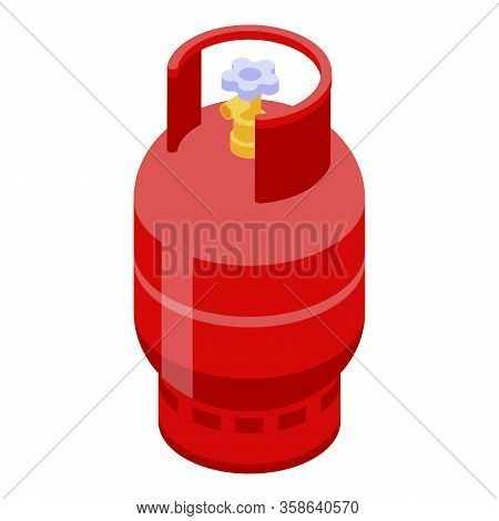 Compressed Gas Cylinder Icon. Isometric Of Compressed Gas Cylinder Vector Icon For Web Design Isolat