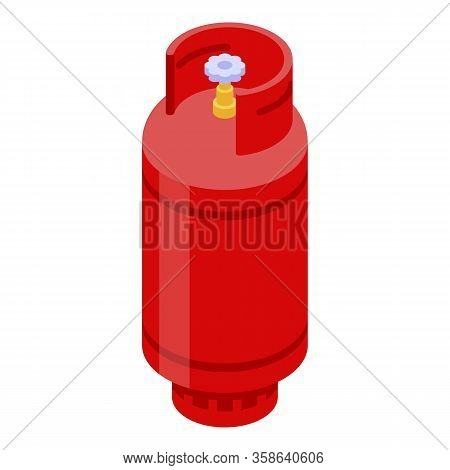 House Gas Cylinder Icon. Isometric Of House Gas Cylinder Vector Icon For Web Design Isolated On Whit