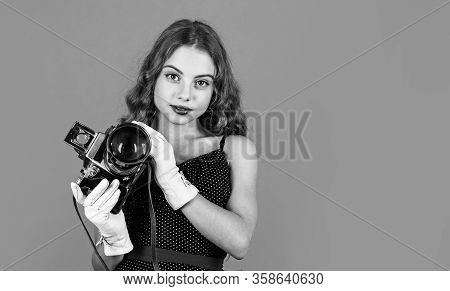 Capture Childhood Memories. Slr Camera. Beautiful Child Photographer Hold Retro Camera. Journalist I