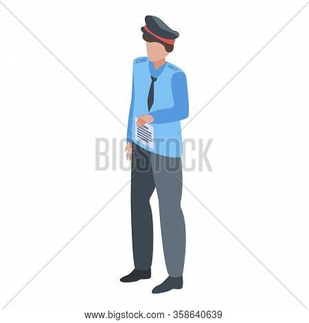 Police Penalty Paper Icon. Isometric Of Police Penalty Paper Vector Icon For Web Design Isolated On