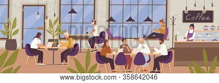 Cartoon Young People Communicating And Working At Modern Coffeehouse Vector Flat Illustration. Man,