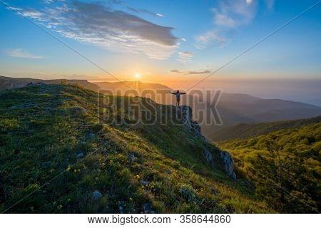 Mountains Sun Sunset Sunrise Nature Background Clouds Panorama Nature Background. Landscape Nature B