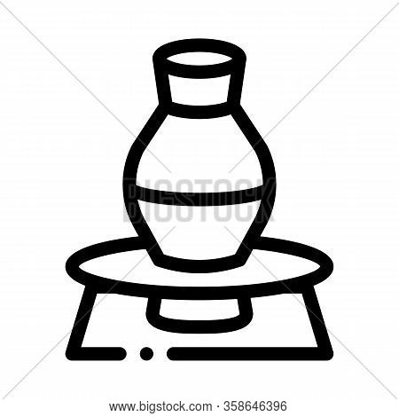 Vase On Pottery Wheel Icon Vector. Vase On Pottery Wheel Sign. Isolated Contour Symbol Illustration