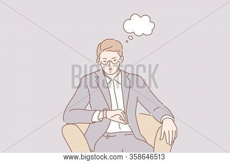 Waiting For Meeting, Delay Business Concept. Dissatisfied Businessman Clerk Manager Boss Sits In Cha