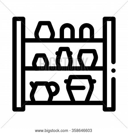 Cupboard With Clay Products Icon Vector. Cupboard With Clay Products Sign. Isolated Contour Symbol I
