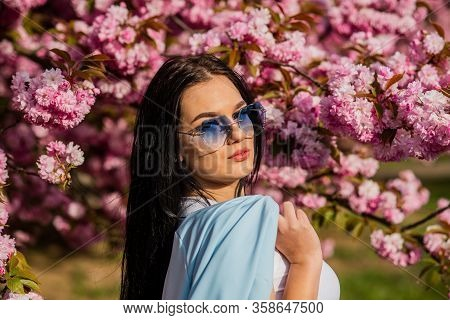 Girl In Cherry Blossom Flower. Woman Fancy Sunglasses In Spring Flower Bloom. Spring Fashion Collect