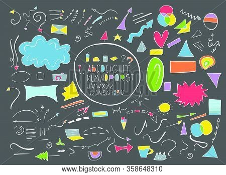 Set Of Cartoon Web Elements: Arrows, Frames, Boarders, Letters, Numbers In Doodle Style For Your Des