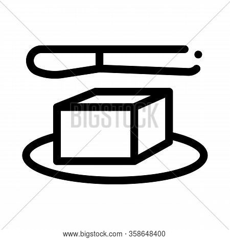 Whole Piece Of Butter And Knife Icon Vector. Whole Piece Of Butter And Knife Sign. Isolated Contour