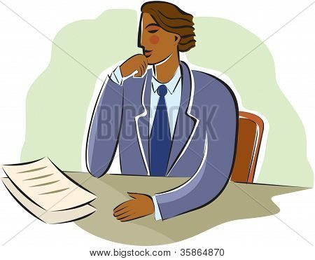 Businessman Pondering Documents