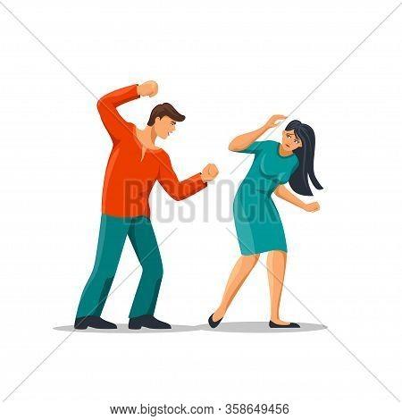 Angry Cartoon Abuser Man Hitting Fear Woman