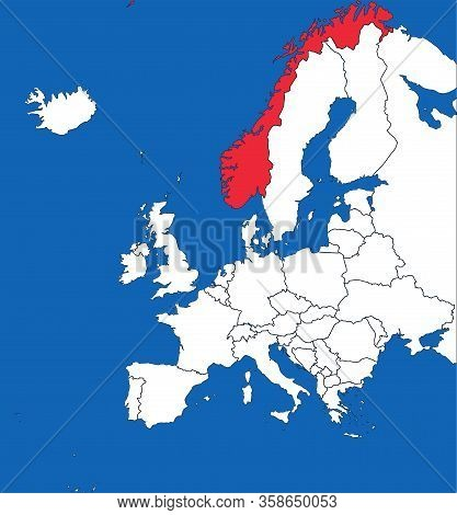 Norway Map Highlighted On Europe Map. White On Blue Background. Perfect For Business Concepts, Backg