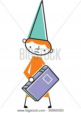 Man Wearing Dunce Cap And Holding Book