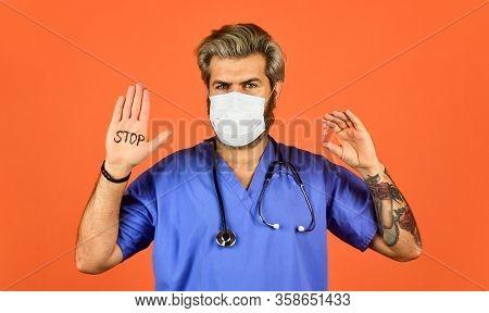 Open Palm Stop Gesture. Epidemic Threshold. Man In Medical Lab. Protective Mask. Stop Epidemic. Viru