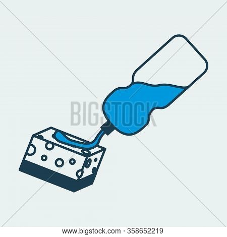 Vector Colorful Icon Of A Bottle And Sponge With Cleaning Agent For Cleaning And Disinfecting Surfac