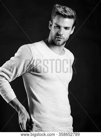 Feeling Casual And Comfortable. Menswear Fashionable Clothing. Perfect Fit. Handsome Man In Casual S
