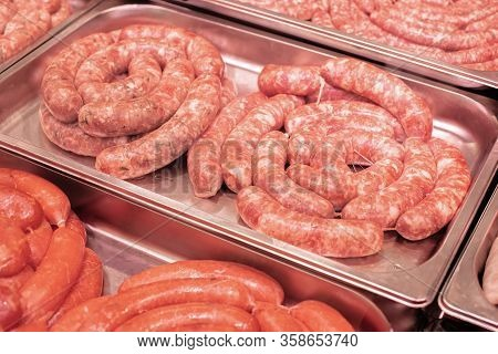 Sausages For Grilling Or Barbecue In The Supermarket, Ready-made Semi-finished Products, Butcher's S