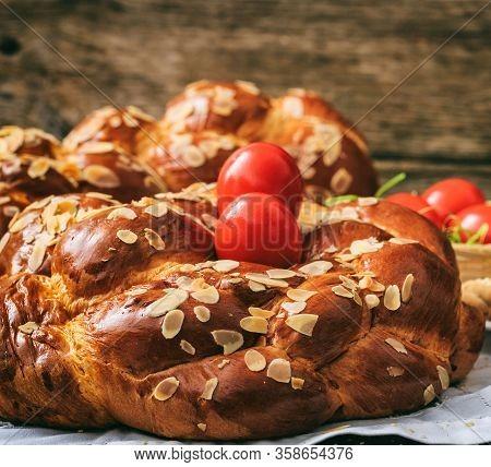 Tsoureki Easter Traditional Sweet Bread Closeup View