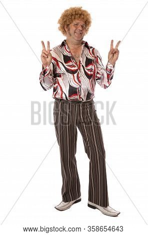 A Groovy Guy On White Says Peace Man