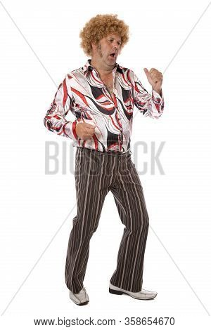 A Groovy Dude Disco Dancing Full Length On White.