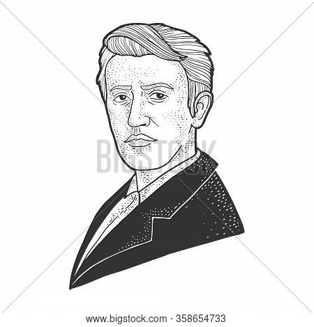 Thomas Edison Portrait Sketch Engraving Vector Illustration. T-shirt Apparel Print Design. Scratch B