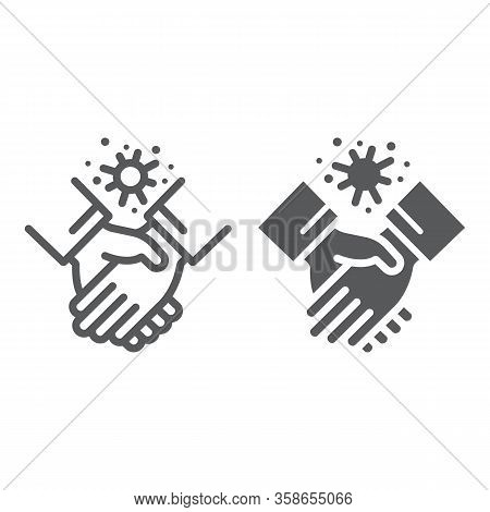 Contagion Handshake Line And Glyph Icon, Virus And Protection, Covid 19 Sign, Vector Graphics, A Lin