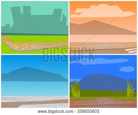 Cards With Natural Landscape Backgrounds, Urban City Buildings Silhouettes. Shadow Of Skyscrapers, A