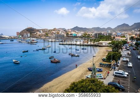 Mindelo/cape Verde - August 9, 2018 - City Streets And Beach Aerial View, Sao Vicente