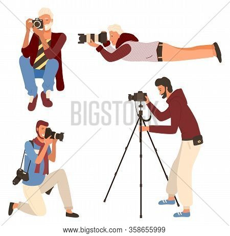 Smiling Man Taking Photo, Photographer Character In Casual Clothes Shooting. Male Sitting, Lying And