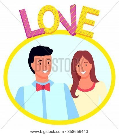 Love Photozone Accessories, Smiling Man And Woman Standing Together And Posing. Romantic Photography