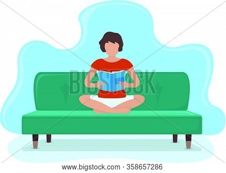 Woman Sitting Kneeling On Sofa And Read Book, Textbook, Journal In Arms, Female Character. Isolated