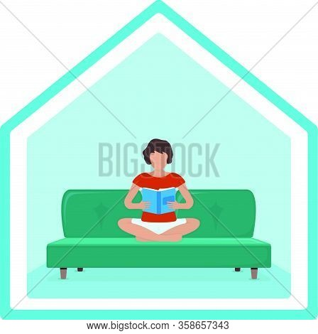 Woman Sitting Kneeling On Sofa And Read Book, Journal In Arms, Female Character. Isolated On White,