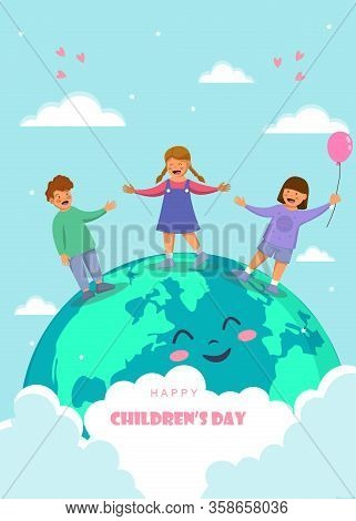 Childrens day. Friendship day. kids are laughing, together happily. Boys and girls celebration Childrens day.Design Childrens day greeting cards or posters from the concept of childrens friendship. Cartoon character Childrens day vector. Vertical view