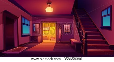 Rustic House Hallway Entrance Night Interior With Wooden Stairs And Furniture. Western Style Apartme