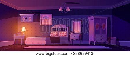 Shabby Chic Bedroom Interior, Night Empty Vintage Room With Elegant Retro Furniture, Mirror, Bed, Cu