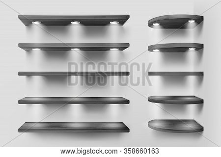 Black Wooden Shelves With Backlight, Front And Corner Racks On White Wall Background. Empty Clear Il