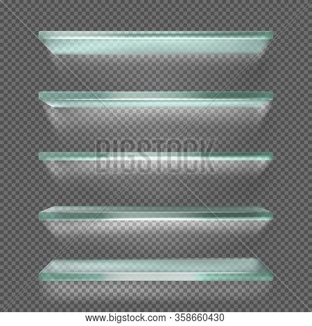 Glass Shelves With Backlight, Ice Rack Isolated On Transparent Background. Empty Clear Translucent I