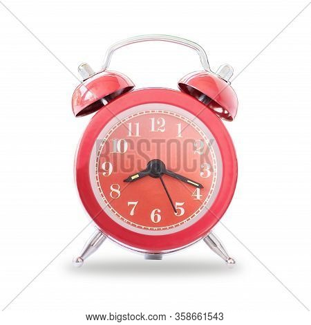 Red Retro Alarm Bell Clock Isolated On White Background,  Concept For Business Deadline.