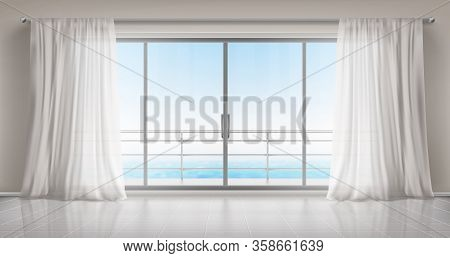 Glass Windows With White Silk Curtains And Overlooking To Sea. Vector Realistic Interior Of Empty Ro