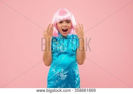 What On Earth Is This. Little Child Look Upset. Beauty Look Of Small Fashion Model. Hair Salon. Fash