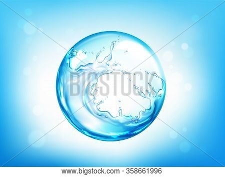 Water Splashing Sphere On Blue Defocused Background With Bokeh. Save Planet Aqua Resources, Earth Sa
