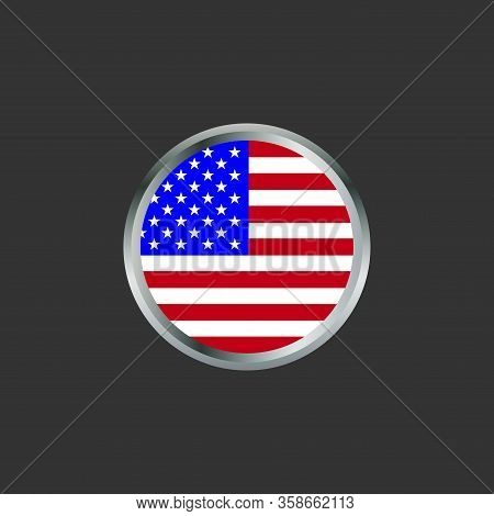 Icon Of The American Flag. American Flag Circle Icon With Gray Background. American Flag Icon Design