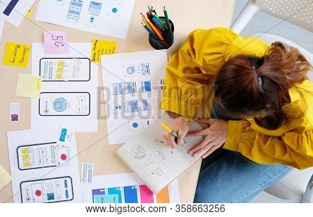 Website Designer, Creative Planning Phone App Development Sketch Template Layout Framework Wireframe