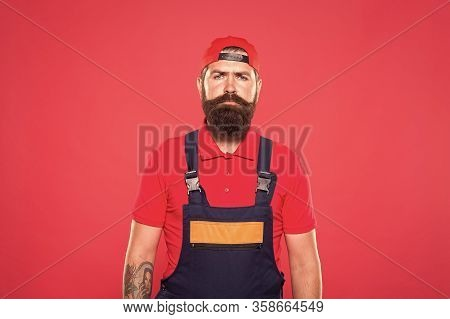 Real Man. Handyman Service. Man Helpful Laborer. Repair And Renovation. Guy Brutal Bearded Worker In