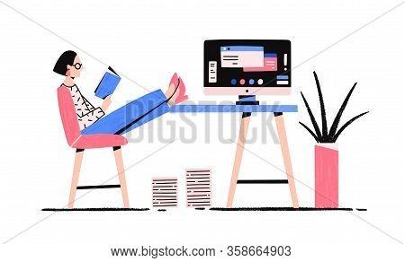 Cartoon Relaxed Woman Reading Book Enjoying Break Vector Flat Illustration. Colorful Female Putting