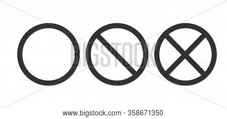 Set Of Icons With A Circle And Crossed Out Circles. The Symbol Information And The Prohibition, Empt