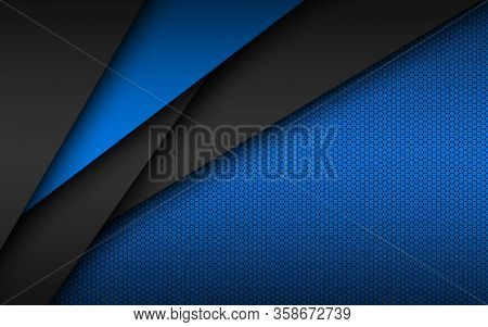 Black And Blue Modern Material Design With Perforated Hexagonal Pattern, Dark Overlayed Sheets Of Pa